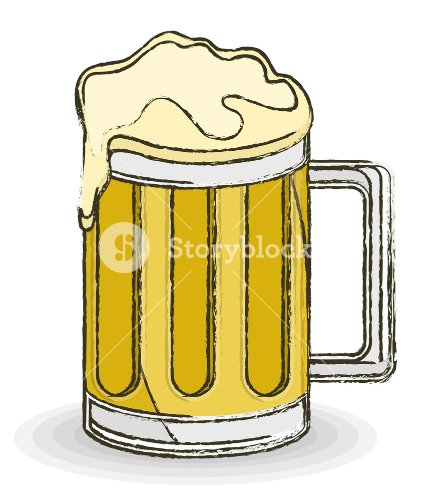 847x1000 Retro Beer Mug Vector Drawing Royalty Free Stock Image