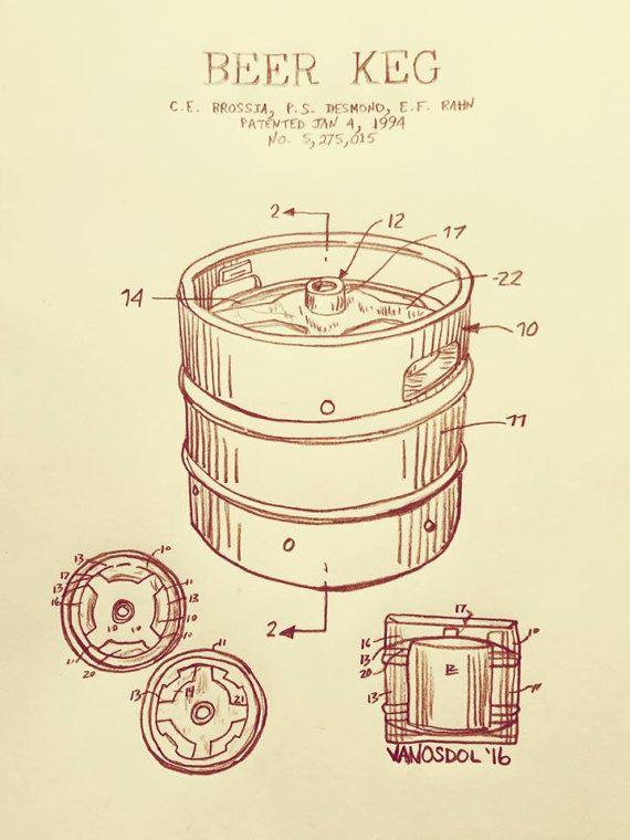 570x760 Beer Keg 1994 Us Patent Graphite Pencil Sketched Drawing Sketch