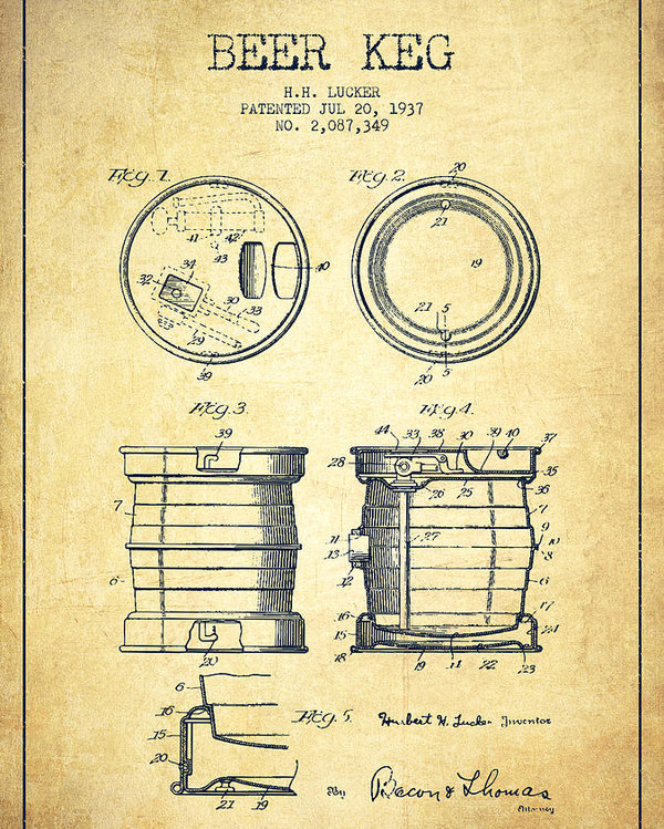 600x749 Beer Keg Patent Drawing From 1937
