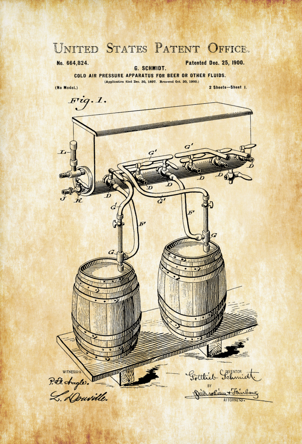 1021x1500 Beer Tap Patent Poster Patent Print, Wall Decor, Bar Decor, Beer