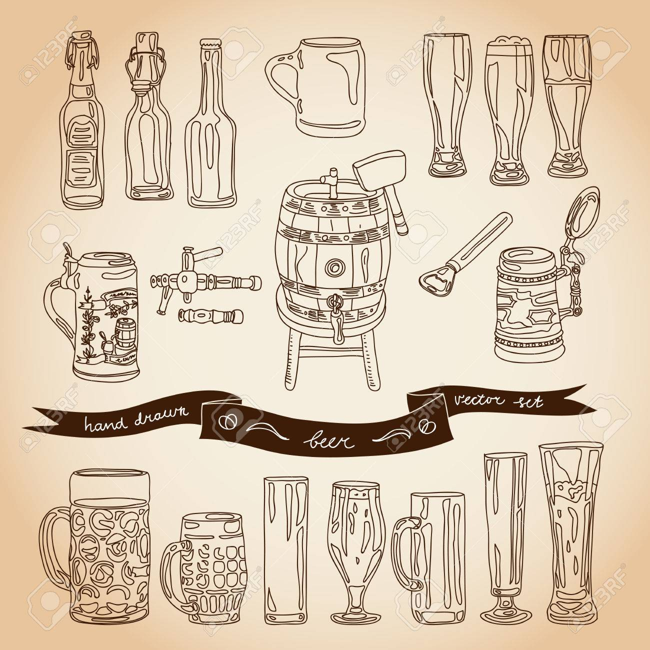 1300x1300 Vector Collection Of Beer Glasses And Bottles Icons. Hand Drawn