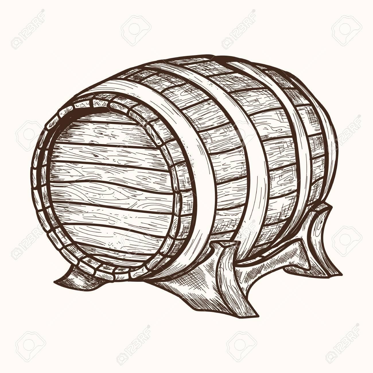 1300x1300 Wooden Barrel. Hand Drawn Retro Vintage Illustration, Engraved