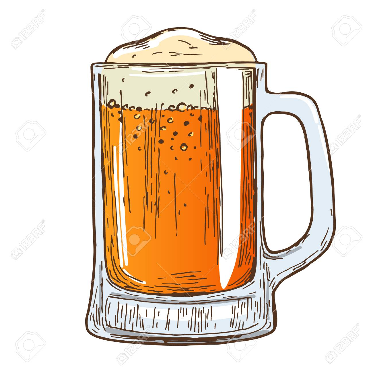 1300x1300 Beer Mug On White Background. Colorful Sketch Of Beer Glass