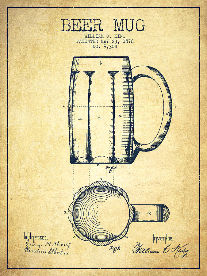 675x900 Beer Mug Patent Drawing From 1876