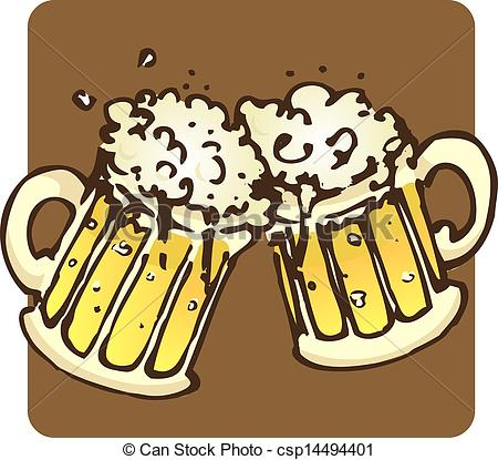 450x415 Beer Mugs. Two Mugs Filled To The Brim With Bubbling Beer! Vector