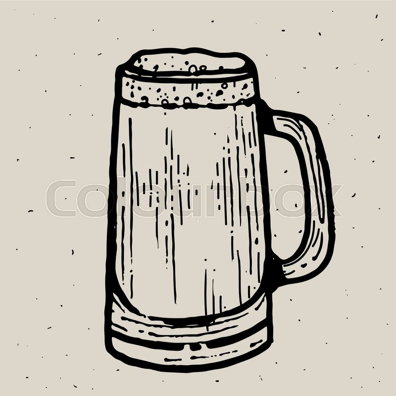 800x800 Retro Style Beer Mug Or Glass Engraving. Local Brewery. Vintage