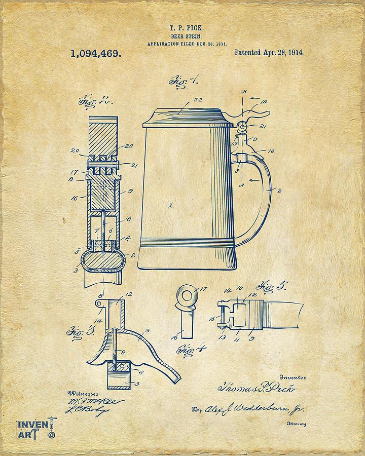 720x900 1914 Beer Stein Patent Artwork