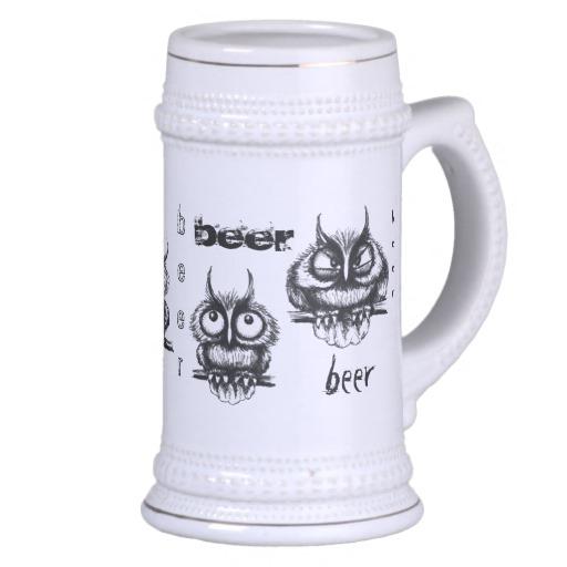 512x512 Coupon Code Funny Owls Pen Ink Drawing Beer Mug Design Funny Owls