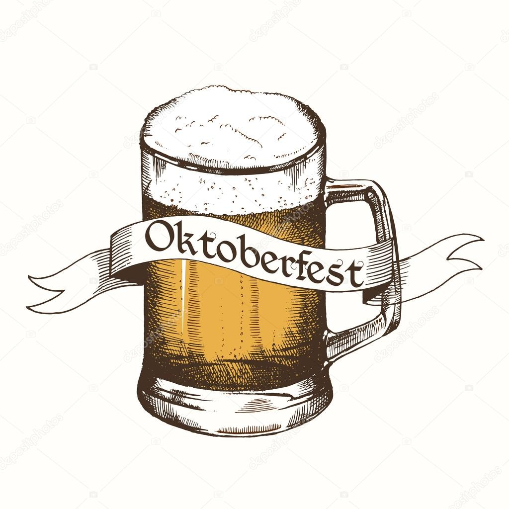 1024x1024 Glass Of Beer With Ribbon. Oktoberfest Sketch, Freehand Drawing