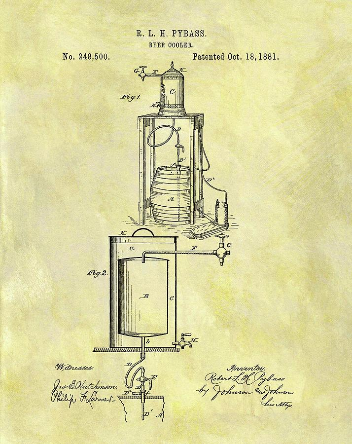 714x900 1881 Beer Cooler Patent Drawing By Dan Sproul