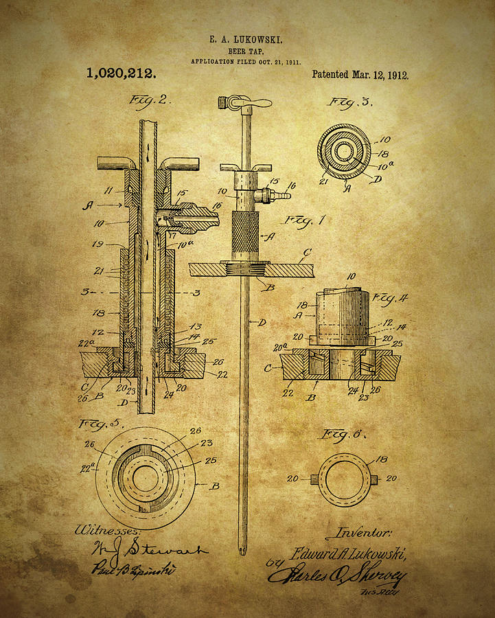 721x900 1912 Beer Tap Patent Drawing By Dan Sproul