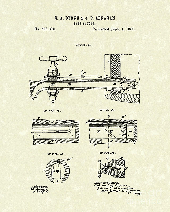 720x900 Beer Faucet 1885 Patent Art Drawing By Prior Art Design
