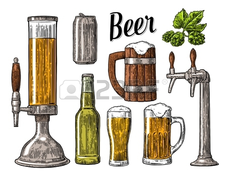 450x354 Beer Set With Two Hands Holding Glasses Mug And Tap, Can, Keg