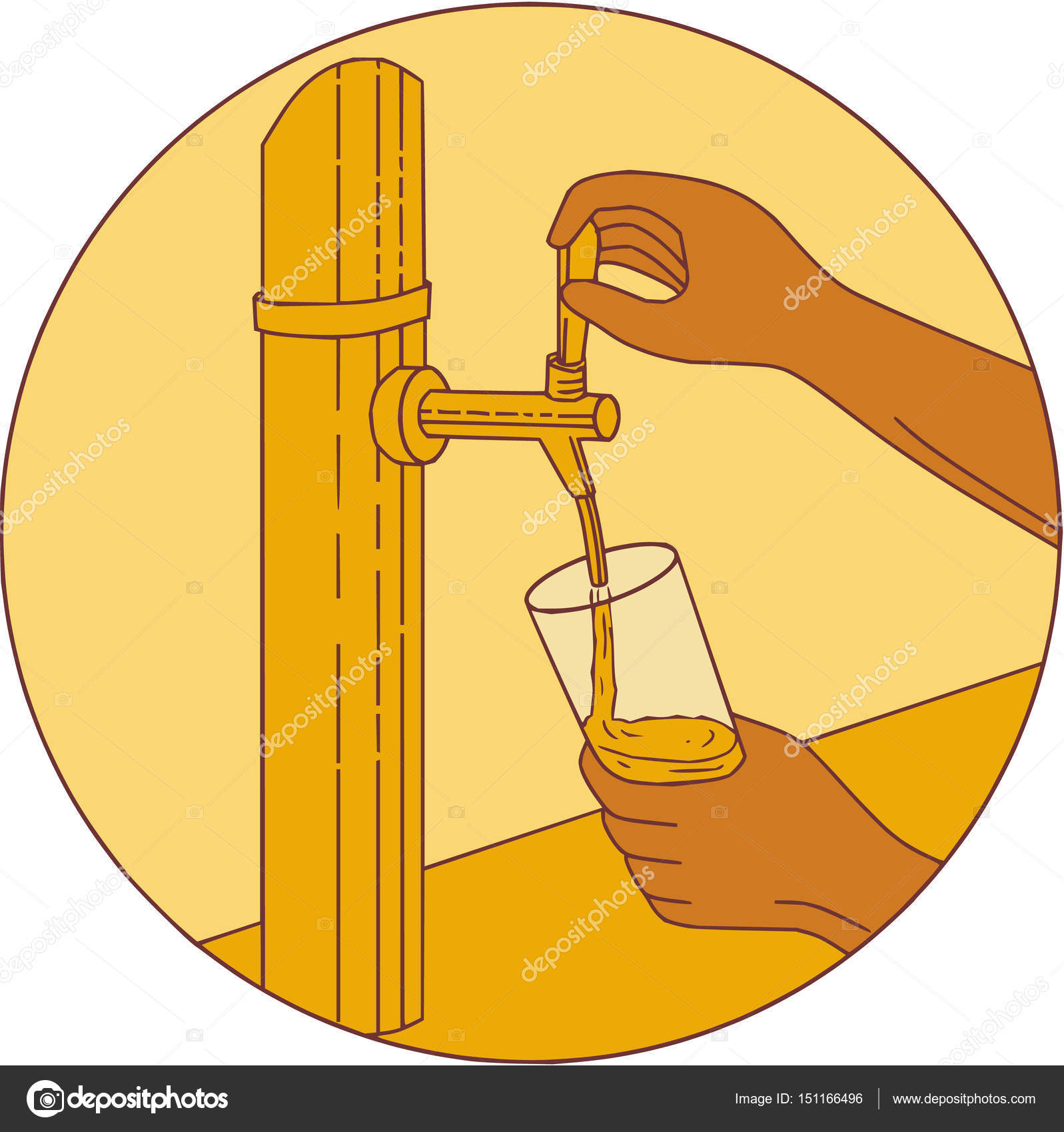 1597x1700 Hand Holding Glass Pouring Beer Tap Circle Drawing Stock Vector