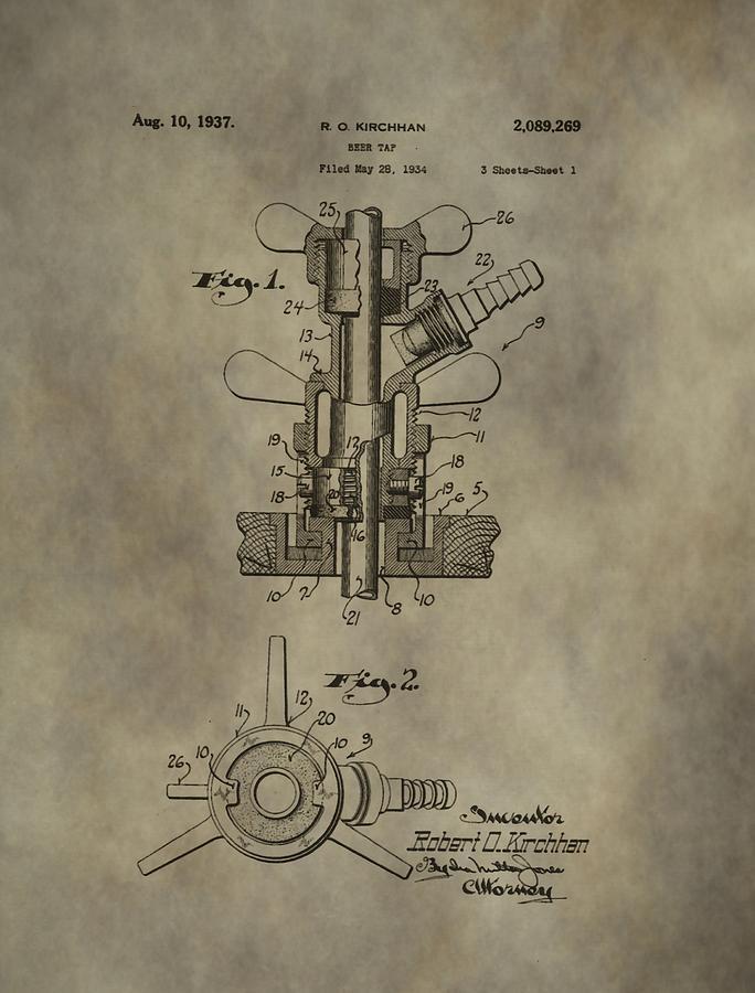 684x900 Vintage Beer Tap Patent Digital Art By Dan Sproul