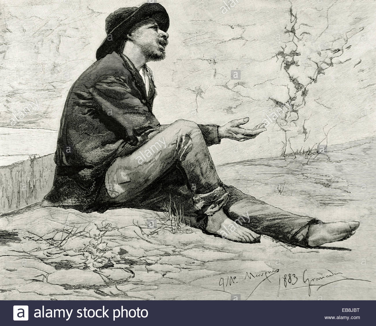 1300x1129 Beggar. Spain. Drawing By Jose Maria Marques (1862 1936), 1883