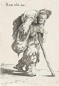 209x300 Humpback Beggar With A Cane Drawing By Jan Gillisz. Van Vliet