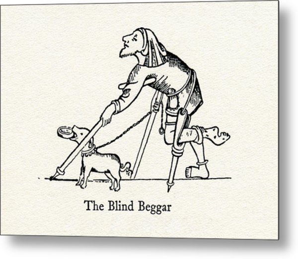 600x520 The Blind Beggar After A Medieval Drawing By Vintage Design Pics