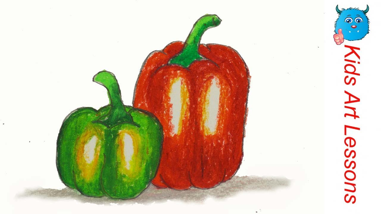 1280x720 How To Draw Capsicum (Bell Pepper) Easy Step By Step Vegetables