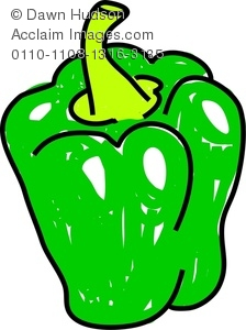 224x300 Image Of A Whimsical Drawing Of A Green Pepper Or Bell Pepper