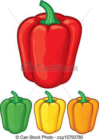 334x470 Sweet Bell Peppers (Green, Red, Yellow And Orange Bell Vector