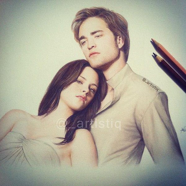 600x600 Artistiq On Twitter Colored Pencil Drawing Of Bella And Edward