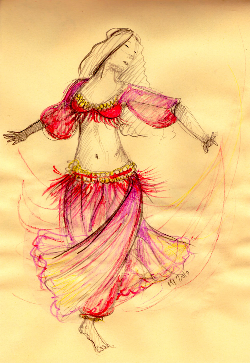 849x1230 Belly Dancer Drawing The Daily Doodles Of Kitteh Mia