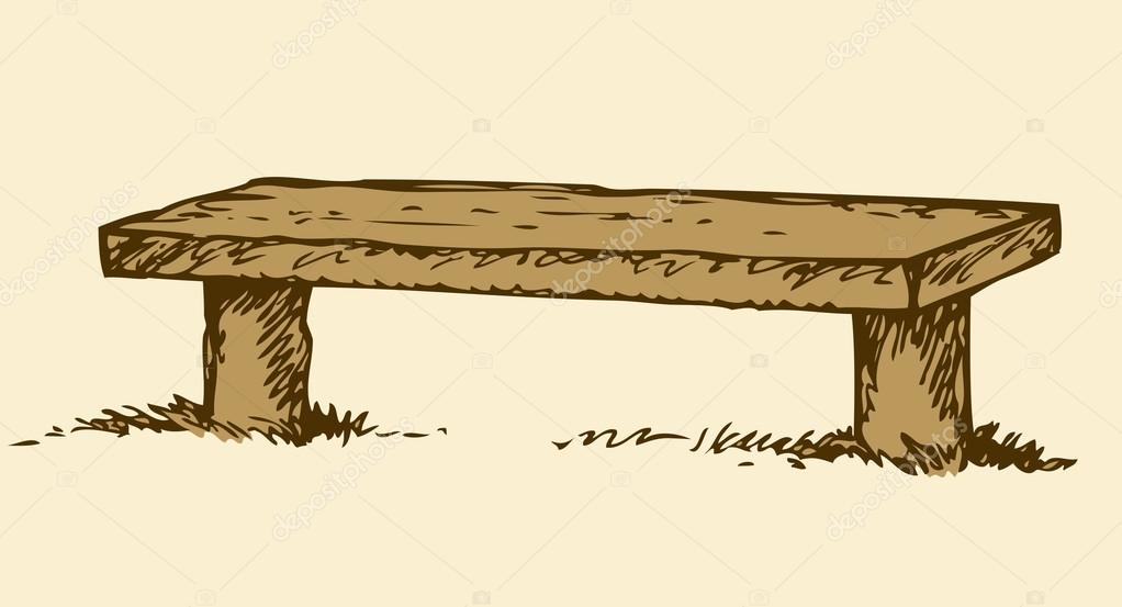 1022x553 Old Wooden Bench. Vector Drawing Stock Vector Marinka