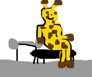 300x250 A Giraffe That Is Ready To Do A Bench Press (Drawing By Nanna36352)