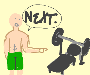 300x250 Man In Green Shots Is Going To Bench Press. (Drawing By Kenzraed)