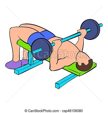 450x470 Men Training On The Bench Press Icon Cartoon. Men Training