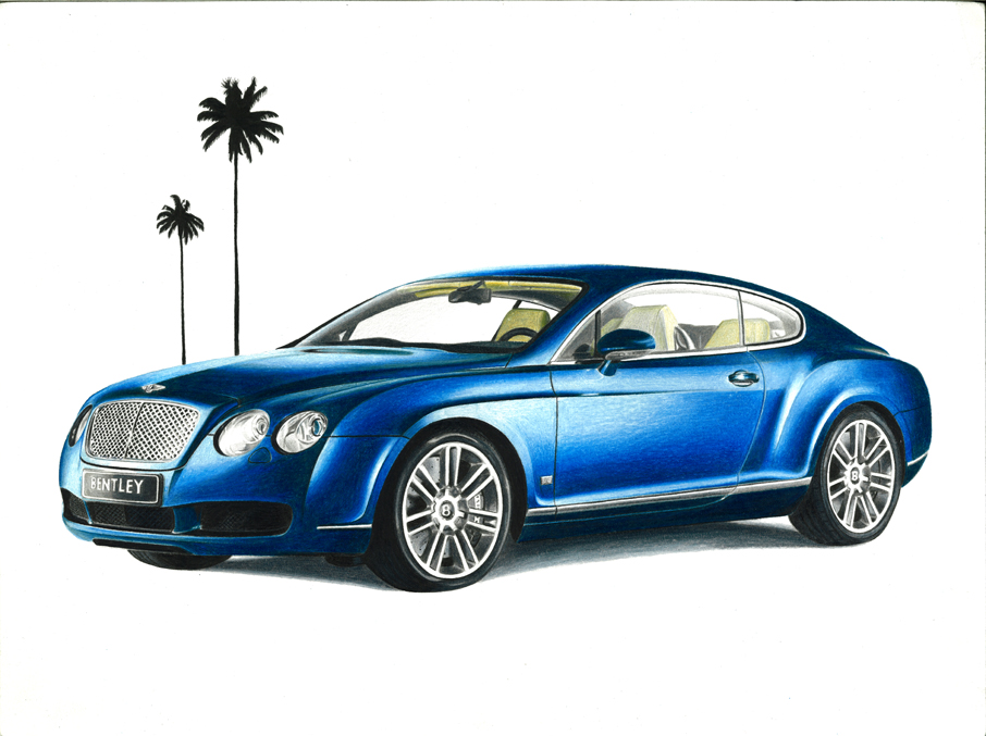 906x677 Bentley Continental Gt Drawing By Xeonos