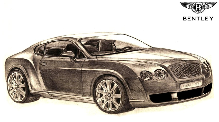 900x501 Bentley Continental Gt Drawing By Toyonda