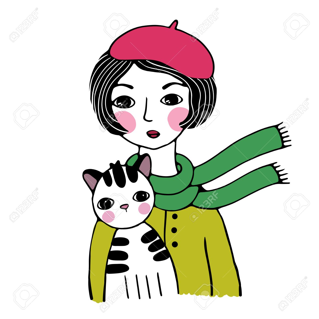 1300x1300 Beautiful Woman In A Beret. Striped Cat. Hand Drawing Isolated