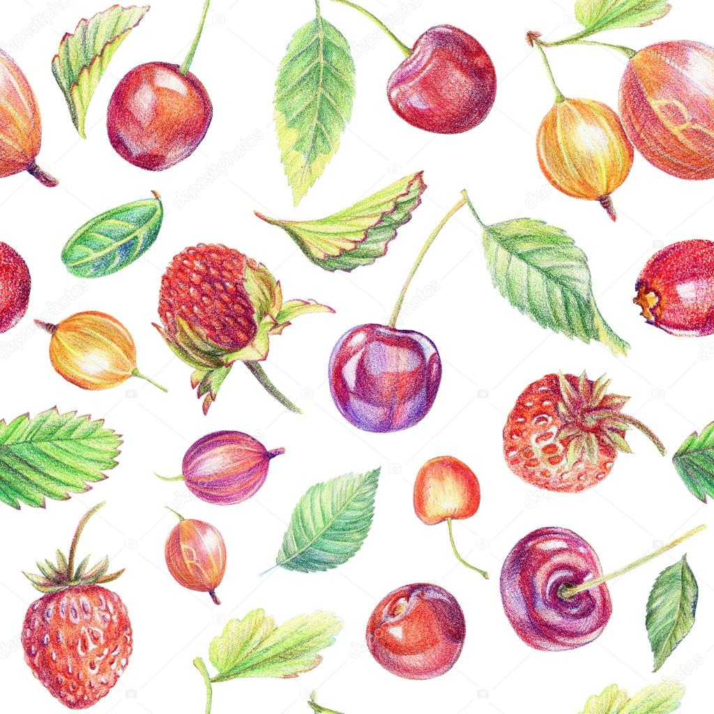 1024x1024 Seamless Pattern With Berries. Drawing With Colored Pencils