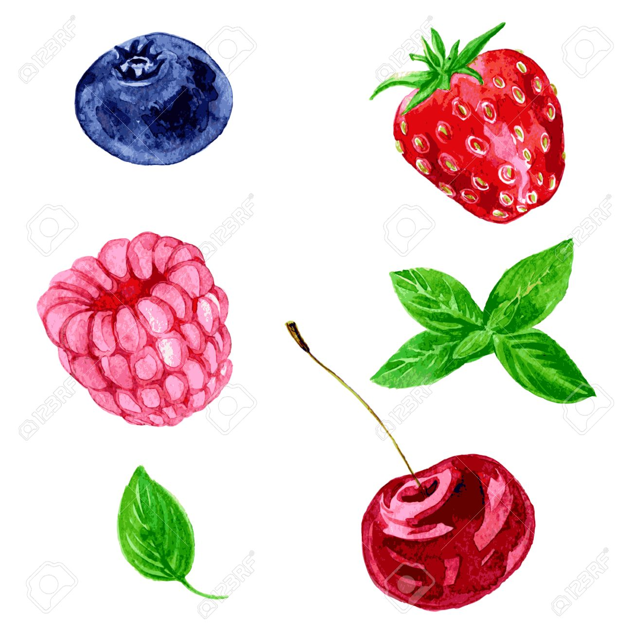 1300x1300 Set Of Different Berries, Raspberry,cherry,blueberry, Strawberry