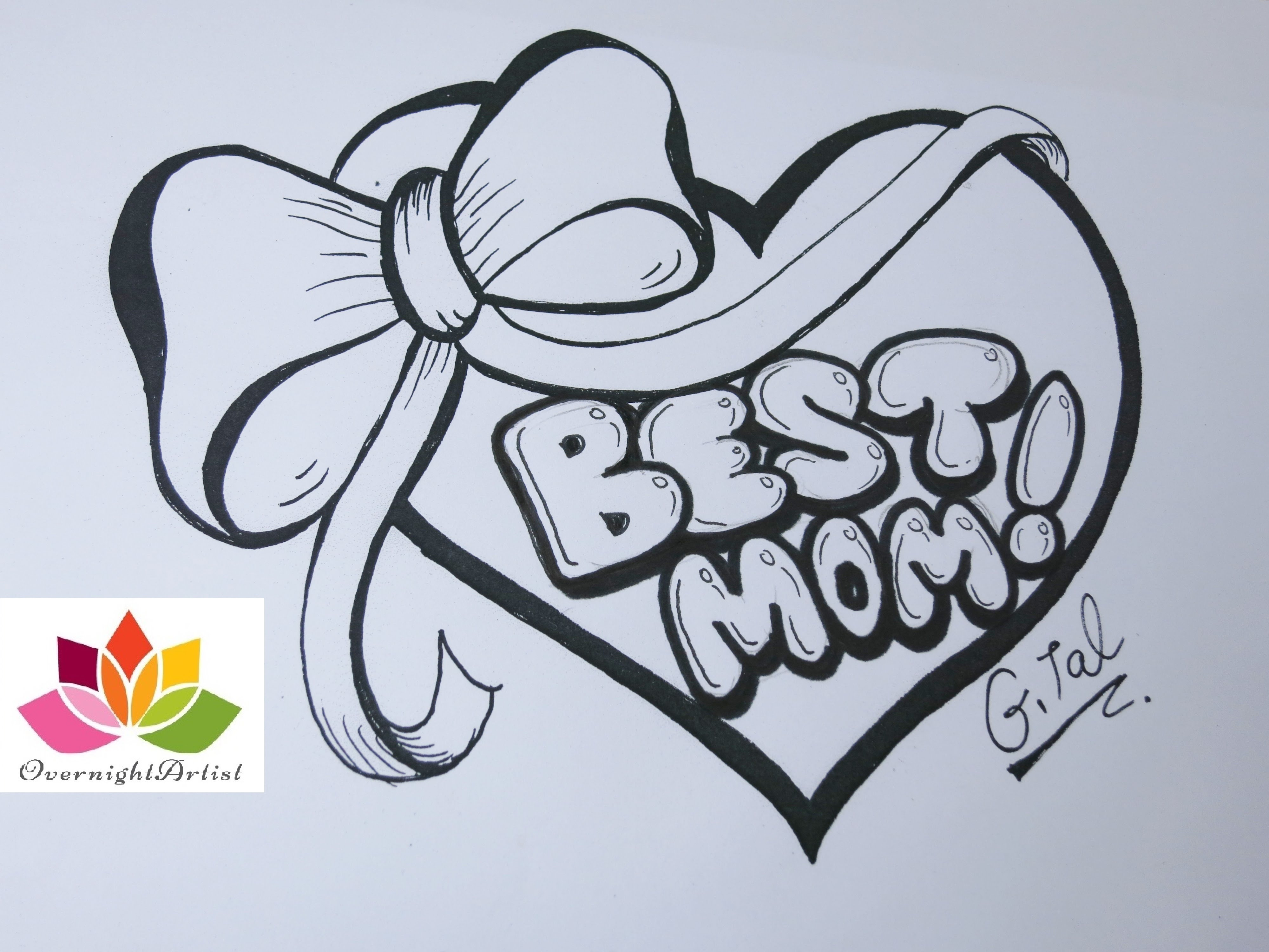 4000x3000 Draw Best Mom On A Heart, Puffy Ribbon Bow Amp Dancing Sashes!