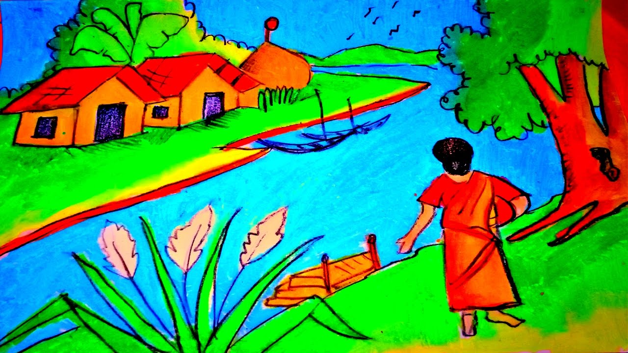 1280x720 Draw A Simple Riverside Village Landscape How To A Best Drawing