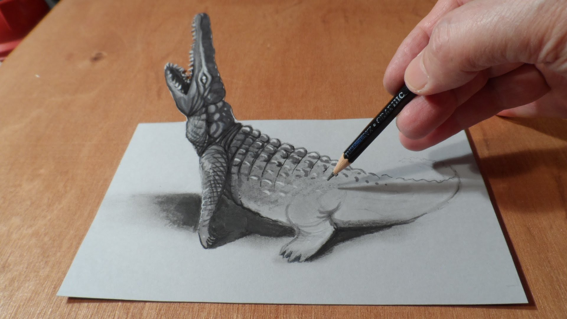 1920x1080 Best Drawing In The World Art 3d Incredible 3d Crocodile
