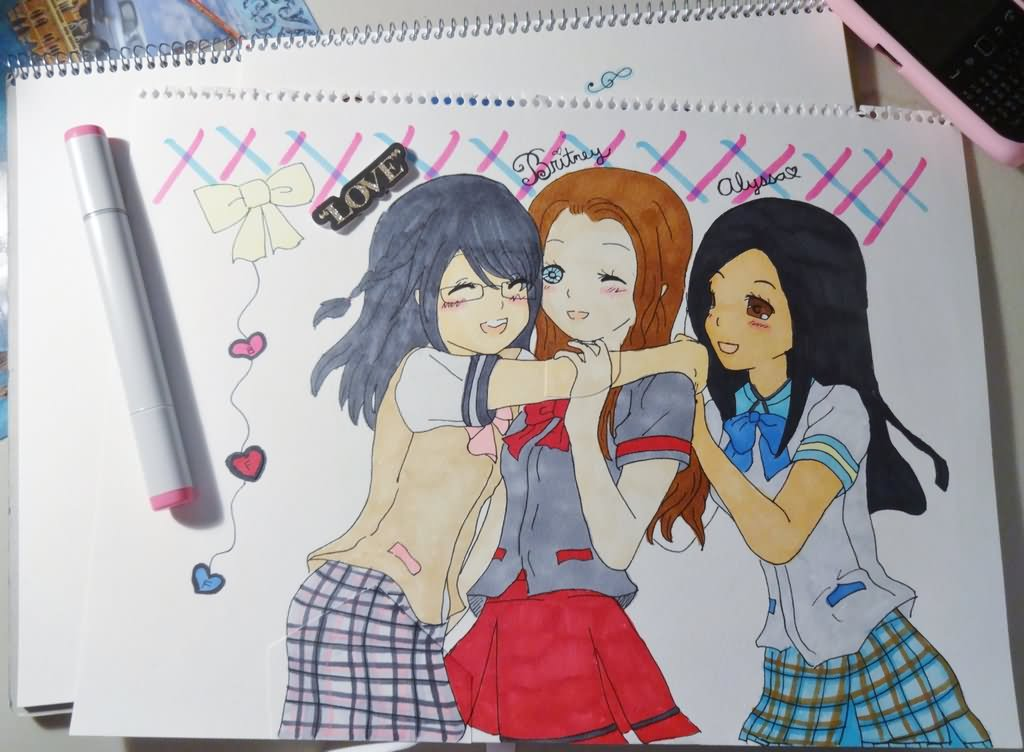 1024x752 Love Best Friends Forever Girls Drawing Image