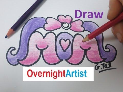 480x360 Draw Mom How To Draw Mom Heart Flower Ribbon