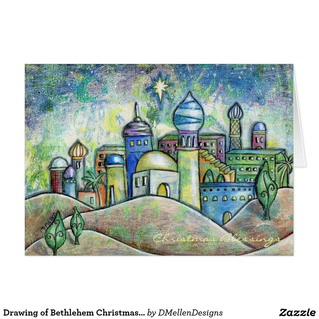 1104x1104 Drawing Of Bethlehem Christmas Card Bethlehem, Xmas