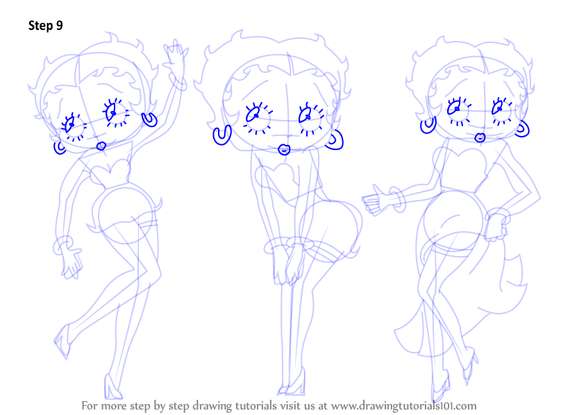 844x598 Learn How To Draw Betty Boop (Betty Boop) Step By Step Drawing