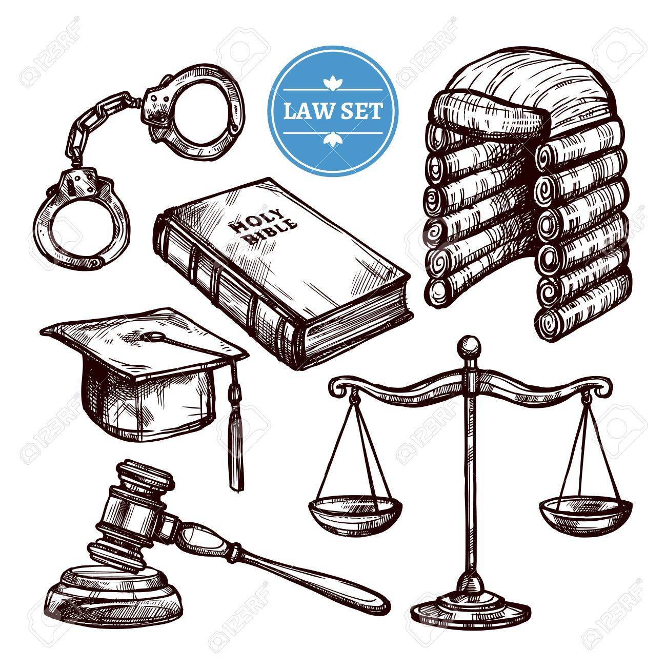 1299x1300 Hand Drawn Law Symbols Set With Holy Bible Scales Handcuffs