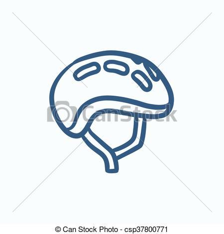 450x470 Bicycle Helmet Sketch Icon. Bicycle Helmet Vector Sketch