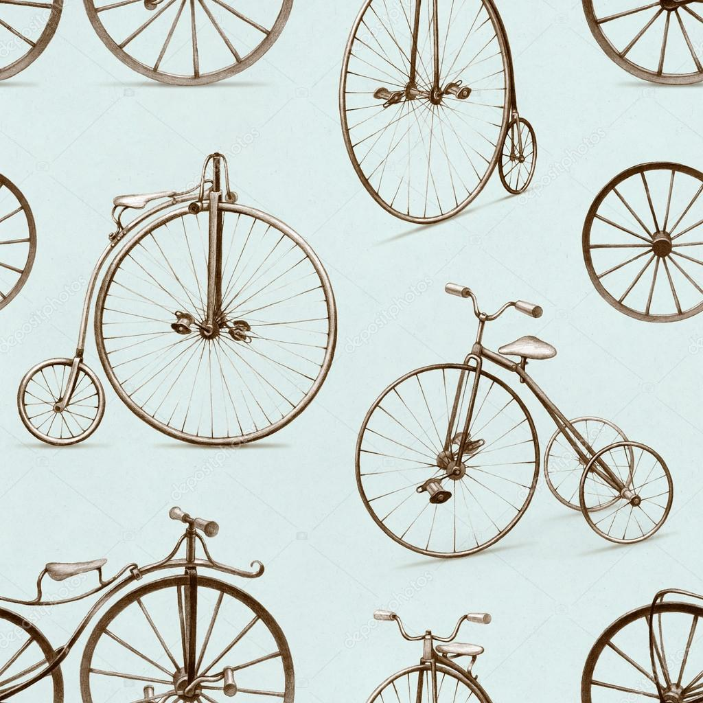 1024x1024 Pencil Drawing Of Retro Bicycle. Seamless Pattern Stock Photo