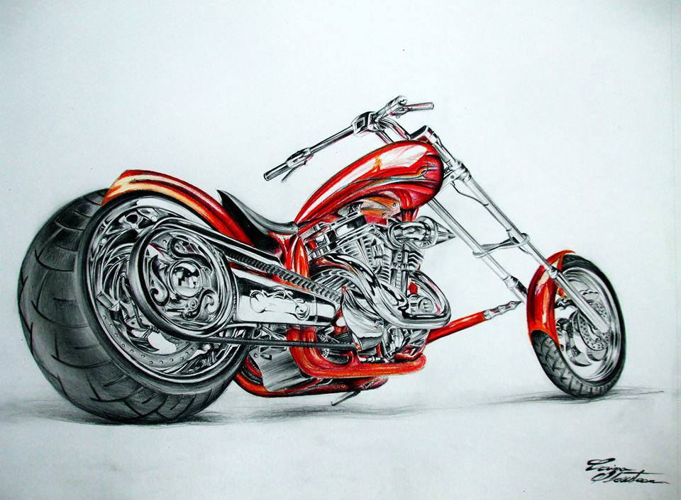 960x706 Bike Color Pencil Drawing By Corina Image