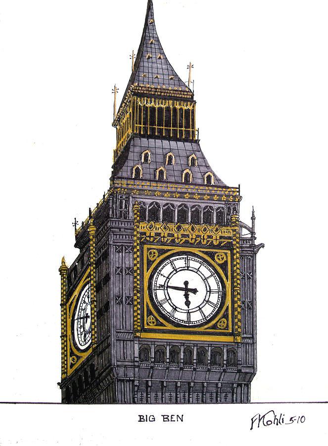 663x900 Big Ben Drawing By Frederic Kohli