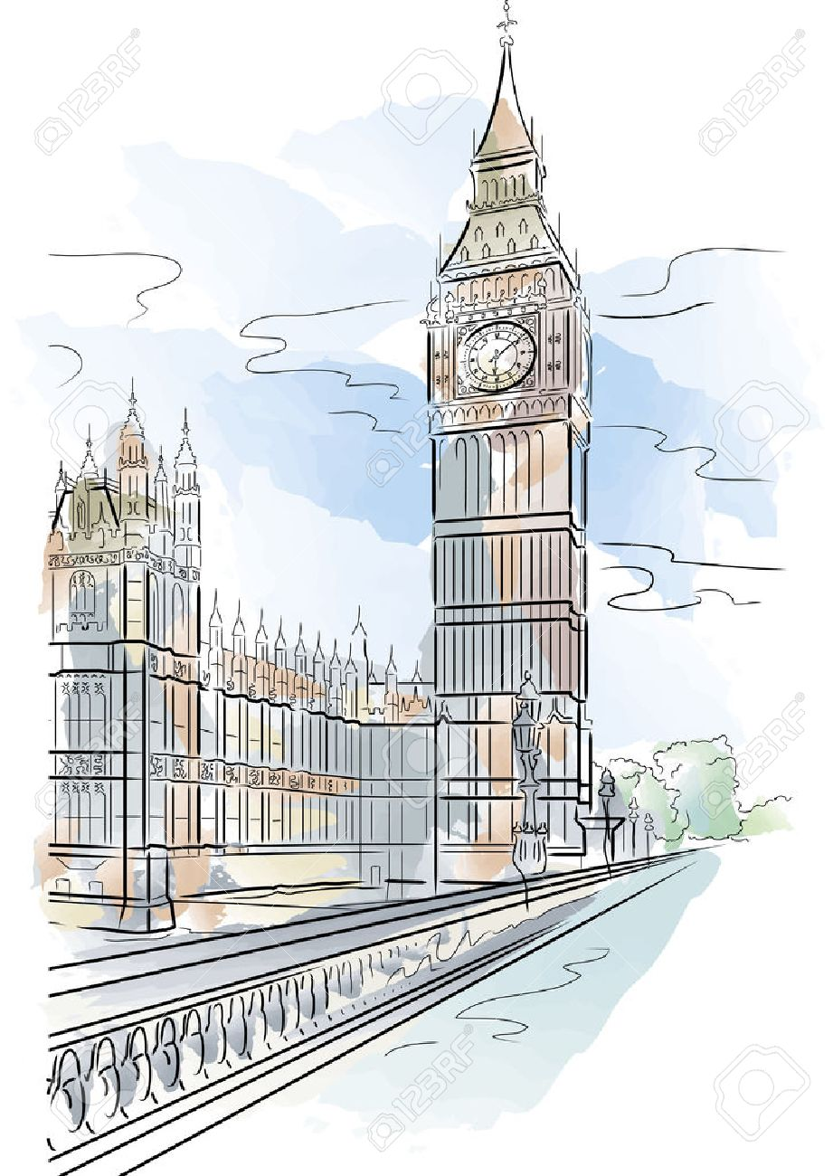 921x1300 Drawing Color Big Ben Of Tower In London, Uk Royalty Free Cliparts