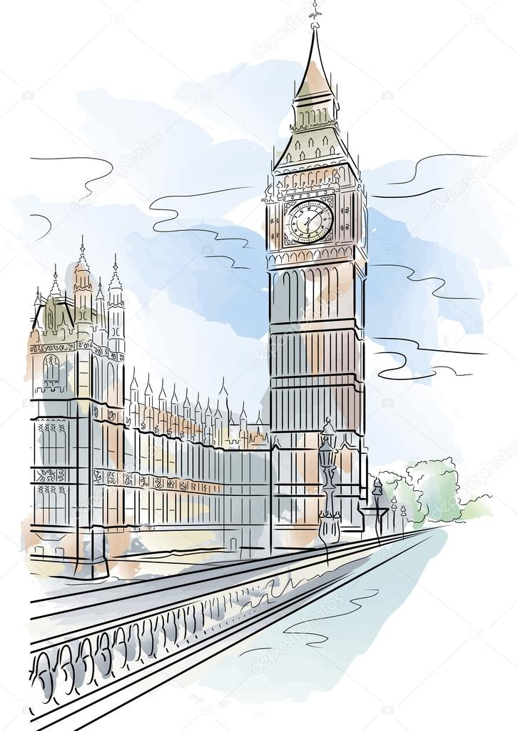 726x1023 Big Ben Of Tower In London Stock Vector Mirumur